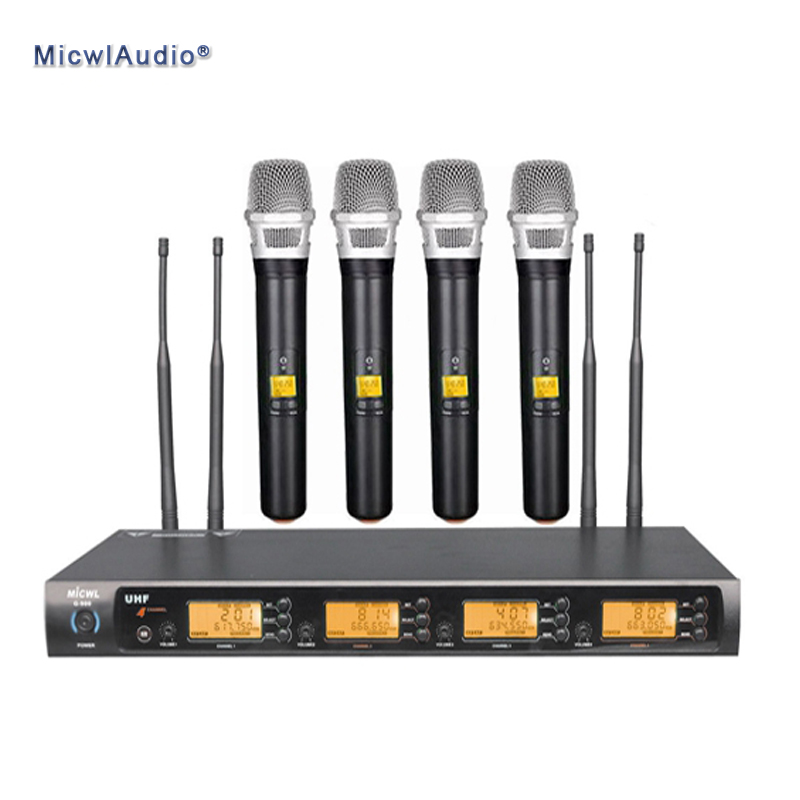 professional uhf 4x100 channel wireless microphone system 4 handheld micwl audio g900 001 in. Black Bedroom Furniture Sets. Home Design Ideas