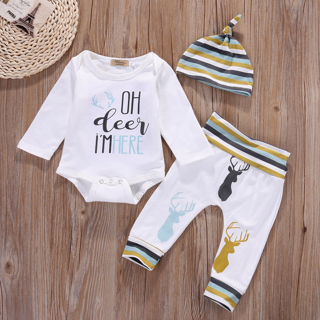 e444bbc6725 Top Romper Cotton Long Pants Hat 3PCS Striped Baby Girl Clothing Outfits  Set Newborn Baby Boys Girls Clothes Set-in Clothing Sets from Mother   Kids  on ...