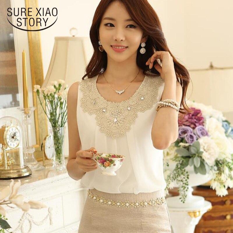 2019 summer new fashion O-neck women's clothing casual sexy sleeveless chiffon women   blouse     shirt   white women tops blusas 036 30