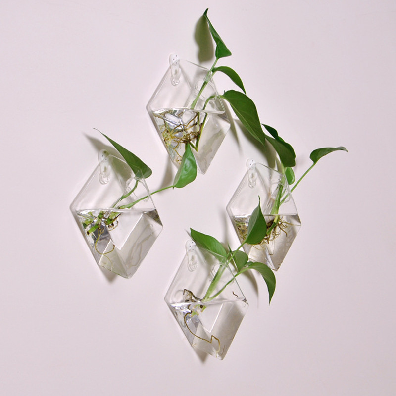 Original diamond hypotenuse wall hanging vase home decor fashion creative hanging fish tank hydroponic flower arrangement device