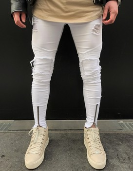 Men Jeans Stretch broken Hole Ripped Design Fashion Ankle Zipper white Skinny Jeans For Men skinny jeans for men distressed stretch jeans ice blue ripped skinny jeans slim fit dropshipping supply white tape design