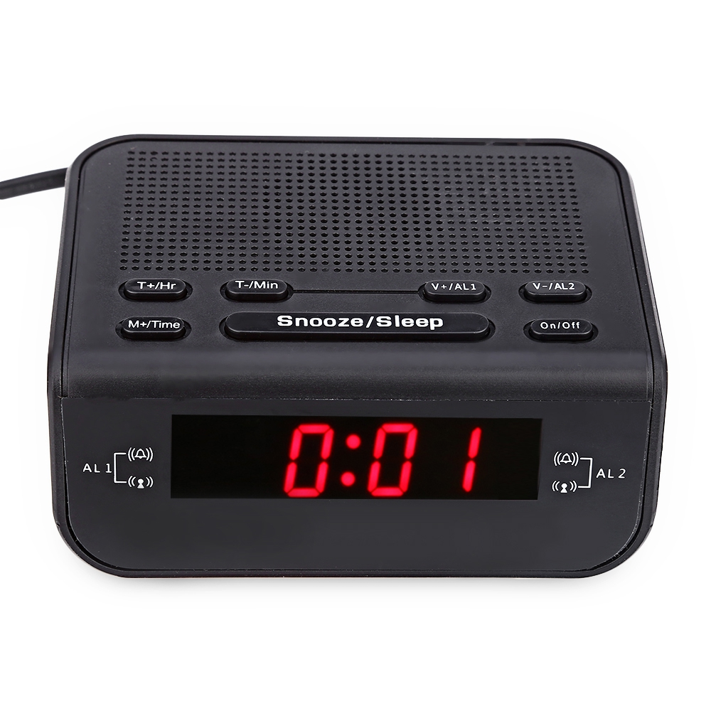 Classic Desktop FM Radio Digital Alarm Clock Red LED Dual Alarm Buzzer Snooze Sleep Function Time Display Table Clocks Watch