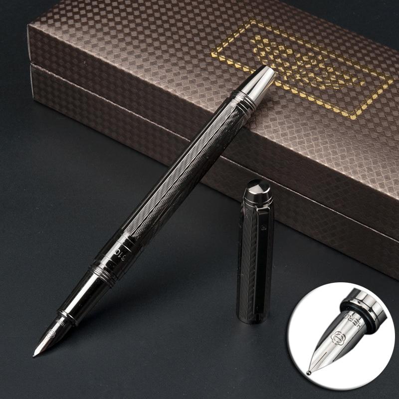 Tampa espiral de metal cheio iraurita caneta 0.5mm tinta caneta de luxo para escrever escritório de negócios caneta tinteiro papelaria 1065