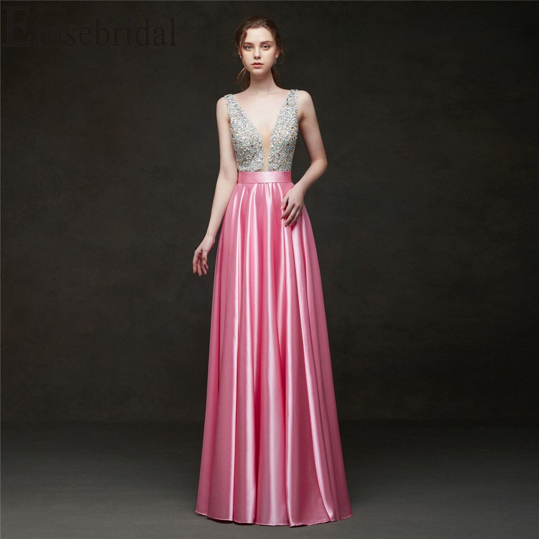 Erosebridal 2019   Evening     Dress   Long Party   Dress   Elegant Formal   Dresses     Evening   Gown for Women Pink/Red/Black/Blue/Green/Yellow