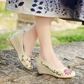 Китайский Этническая натуральный лен вышивка обувь склон с ретро ручной вышивкой белье холст мягкой подошве танцевальная обувь одного