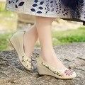 Chino Étnico bordado de lino natural zapatos cuesta con retro lienzo de lino bordado a mano solos zapatos de baile de suela blanda