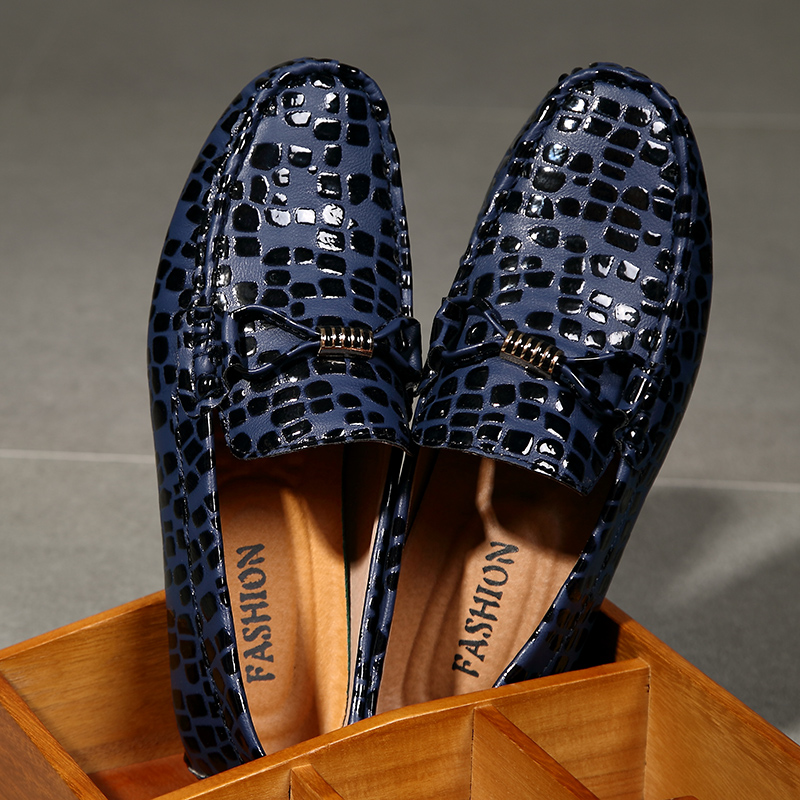 Leather Leopard Printed Men Loafers High Quality Driving Shiny Swag Soft Comfy Formal Driving Loafers Grey Red Blue