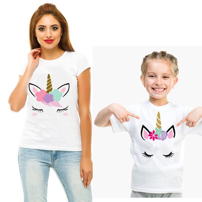 Tenue de famille assortie maman et moi vêtements maman et fille vêtements assortis femmes fille garçon Unicon t-shirt barboteuse Matches 2