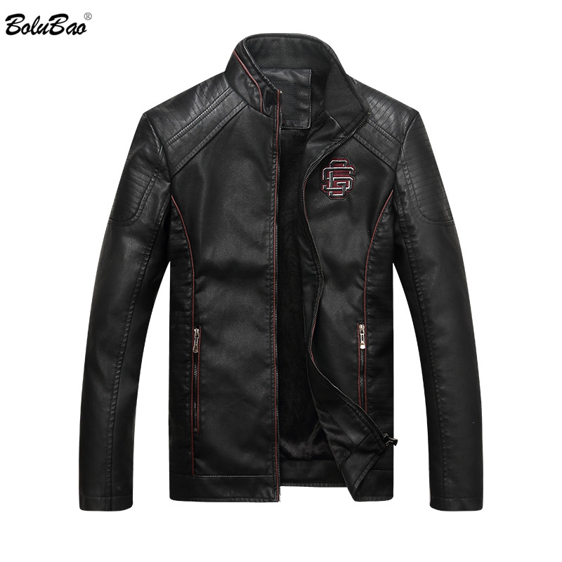 Bolubao Suede Jacket Coat Faux-Leather Motorcycle Winter Autumn Male Fashion PU Outerwear