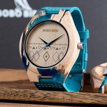 Reloj de madera y resina pulso cuero