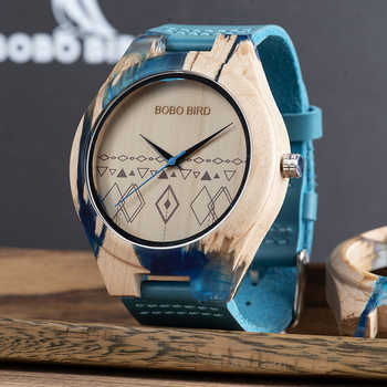 BOBO BIRD Men Watch Special Design Resin and Wooden Conbined Case Wooden Quartz Watches relogio masculino Accept Logo