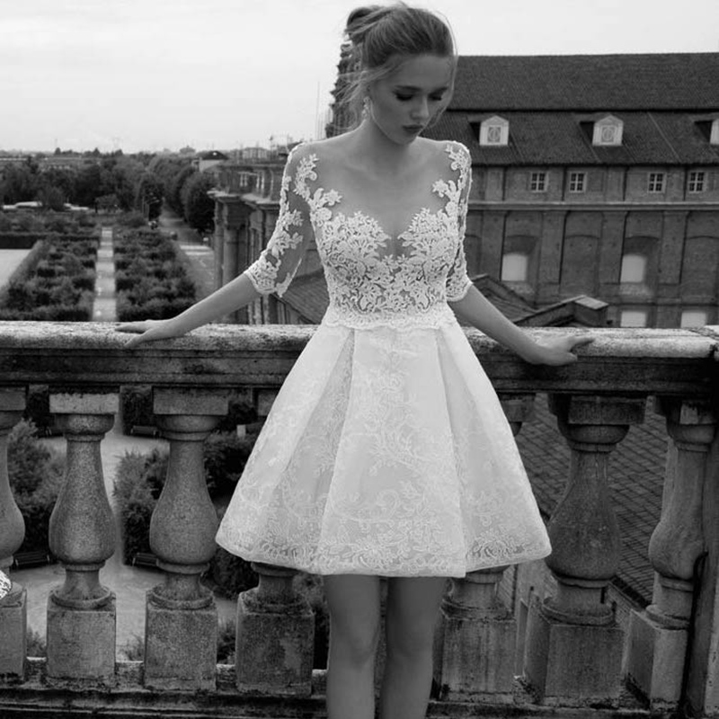 Illusion Tulle O-Neck Short Wedding Dresses 2019 Half Cap Sleeves Romantic Lace Sweet Appliques Bridal Gowns AX103
