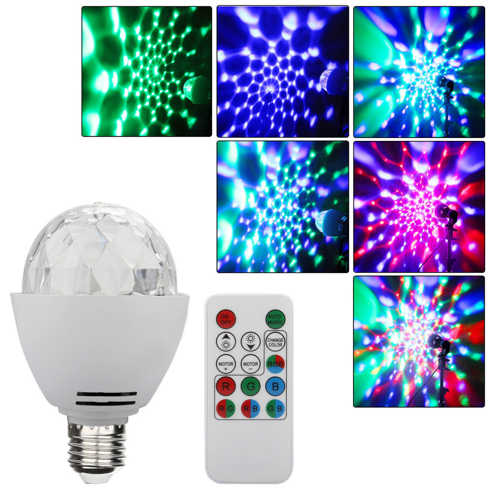 3W E27 Disco Ball Lamp RGB Rotating LED Strobe Party Bulb Stage Light with Remote Control Mini Stage Lighting
