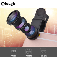 ELOUGH universal 3 en 1 fisheye lente de ojo de Pez gran angular macro cámara lente para xiaomi iphone 5 5s 6 6 s ojo de pez teléfono móvil lente