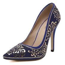 2016แฟชั่นดอกไม้พิมพ์รองเท้าแต่งงานผู้หญิงชี้นิ้วเท้าปั๊มผู้หญิงเซ็กซี่รองเท้าส้นสูงZ Apatos Mujer