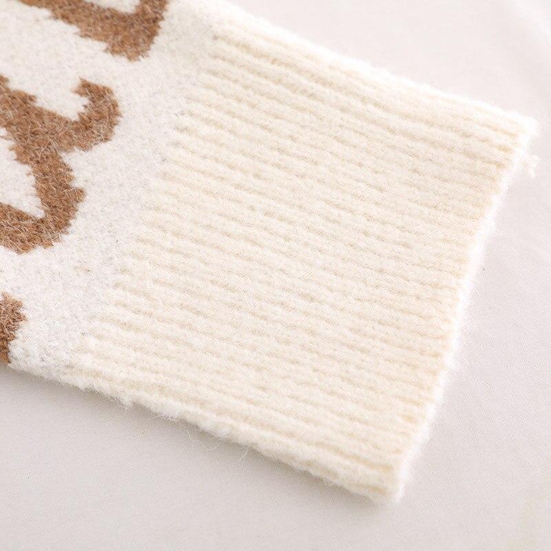 blanc Solide Chandail Taille Noir Mode Noir O Plus D'hiver Coréen Automne Pulls En Longues Blanc Tricot Vêtements Manches 2018 Cou Femmes La Lettre À AEq5w0g