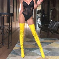 DoraTasia brand new large size 34 48 over the knee boots thin high heels woman sexy party shoes women boots pointed toe Satin