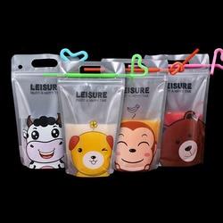 100 pcs Colorful Cute Cartoon Plastic Beverage Bag DIY Drink Container Drinking Water Bag Juice Food Storage Bag with Handle