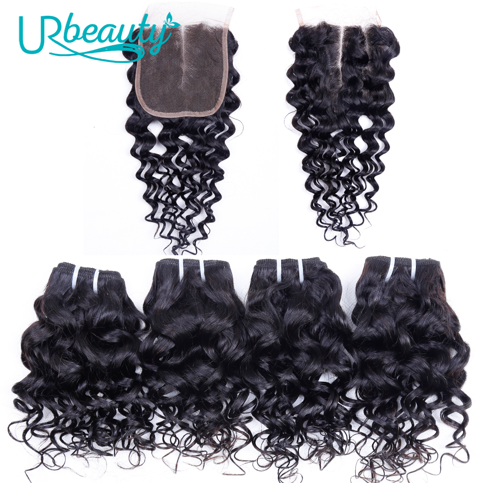 50g pc Water Wave Bundles With Closure Human Hair Bundles With Closure UR Beauty Remy Hair