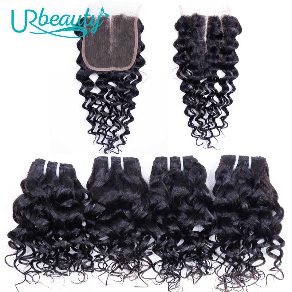 50g/pc Water Wave Bundles With Closure Human Hair Bundles With Closure UR Beauty Remy Hair Extensions 4 bundles With Closure