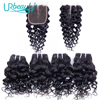 50g/pc Water Wave Bundles With Closure Human Hair Bundles With Middle Part Closure UR Beauty Remy Hair Extensions