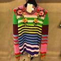 НОВАЯ Коллекция Весна высокого качества взлетно-посадочной полосы женщин трикотажные свитера jumper с длинным рукавом О Шеи Цветочный Вышивка полосатый пуловер трикотаж
