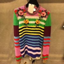 Ky&Q Autumn high quality runway knitted sweaters women jumper long sleeve O Neck Floral Embroidery striped pullovers knitwear