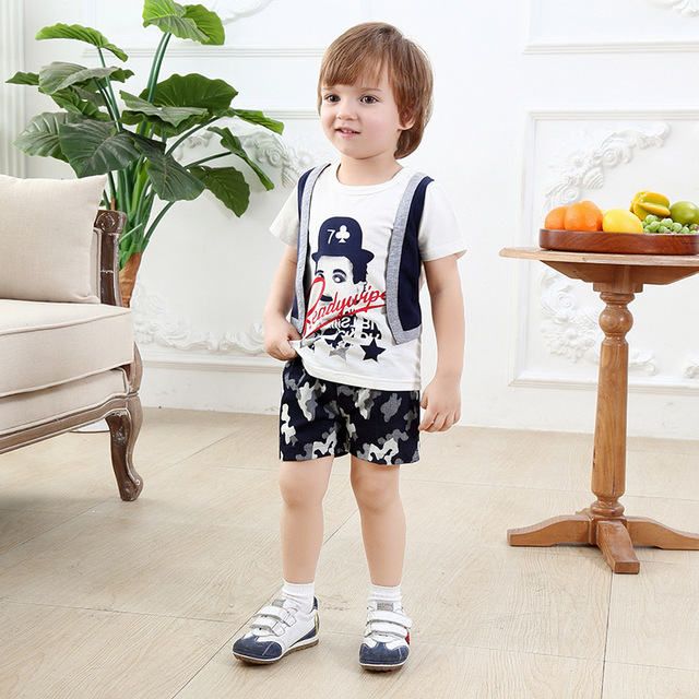 US $12 9  baby boy christening outfit boy clothing gentleman psg 2017  Summer suit kids clothes short children's importers boy print set-in  Clothing