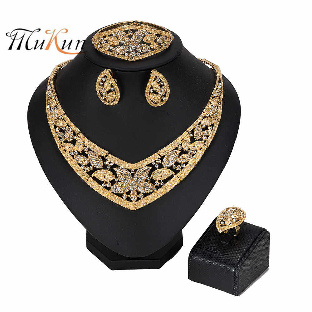 MUKUN nigerian wedding woman accessories jewelry set Brand Dubai Gold Jewelry Set Wholesale Fashion African Beads Jewelry set