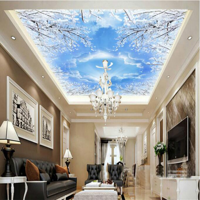 Custom 3D wallpaper for walls 3d murals backgrounds Non Woven silk wallpaper for living room Smallpox ceiling sky blue pigeons custom ceiling wallpaper blue sky and white clouds murals for the living room apartment ceiling background wall vinyl wallpaper