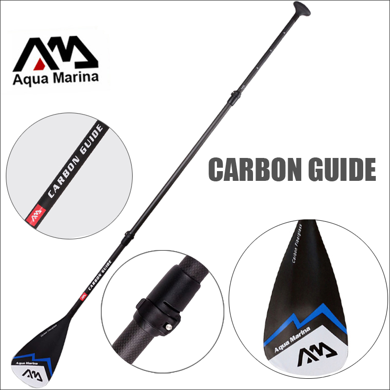 цены CARBON GUIDE AQUA MARINA fibergalss paddle SUP stand up paddle board for surfing boards adjustable 180-210cm oar T handle A03006