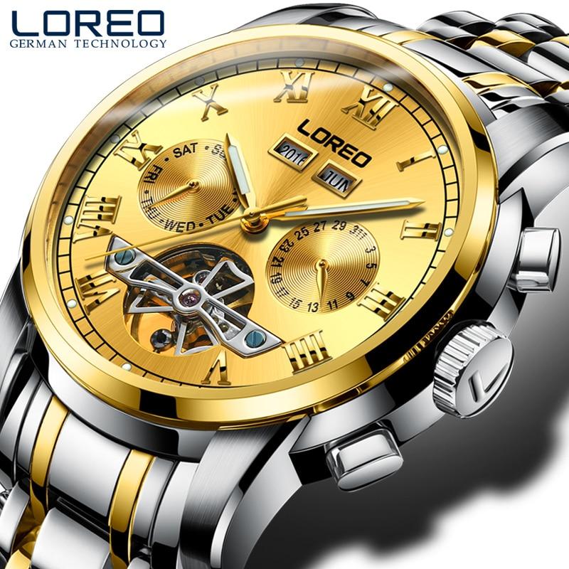 LOREO Trendy Fashion Men's Watch Automatic Mechanical Hollow Luminous Steel Strip Gold Business Waterproof Men's Watch цена 2017
