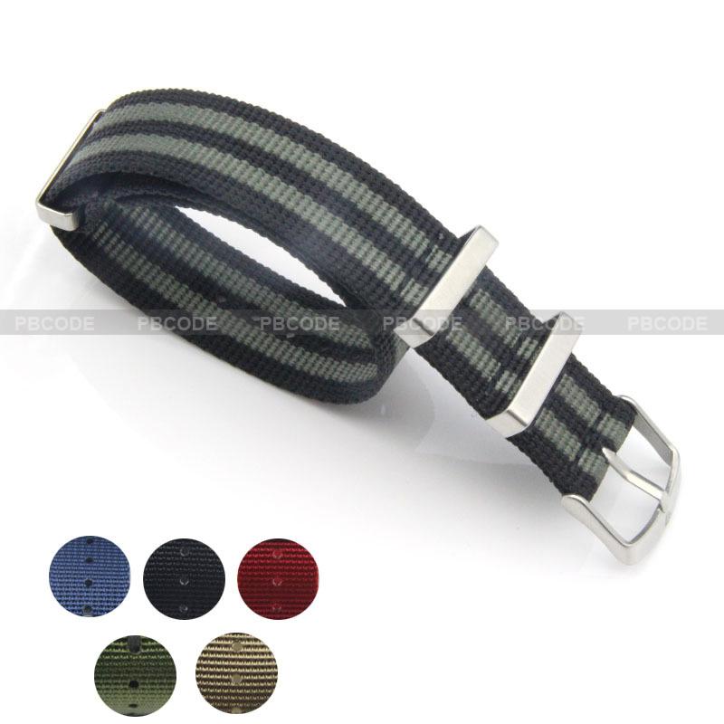 Prix pour Bracelet Nato 22mm Toile Sangle En Nylon 304L Acier Boucle Épaisseur 1.5mm 6 couleurs pour le choix