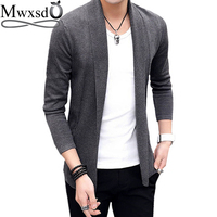 Mwxsd brand Men casual slim fit Cardigan thin Jacket and coat No button design male autumn korean Knitting Jacket