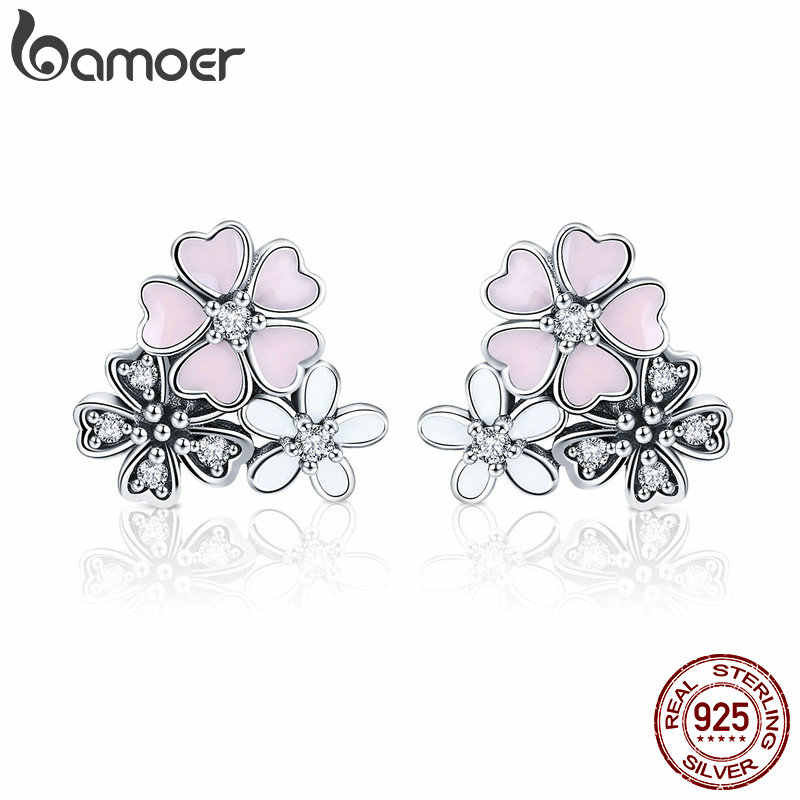 BAMOER 100% 925 Sterling Silver Pink Daisy Cherry Blossoms Flower Stud Earrings for Women Sterling Silver Jewelry Gift SCE400