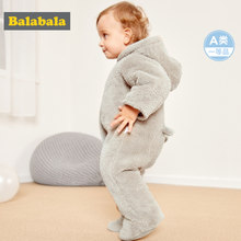 Balabala Infant Baby Boy Girl Fleece 3D Bear Snowsuit Hooded Jumpsuit 100% Cotton Lined Zip Closure Winter Newborn One-Piece(China)