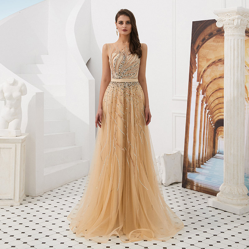 Fashion Women   Evening     Dress   Beads Scoop Neckline A Line Crystal Tulle   Evening   Gown Gold Long   Dresses   2019