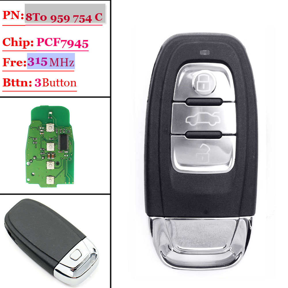 Free shipping (1piece)Remote Control key 3 button smart Key 315mhz fit for Audi A4/S4/A5/S5/Q5 8T0 959 754C/ 8K0 959 754C wireless removable bluetooth keyboard case cover touchpad for lenovo miix 2 3 300 10 1 thinkpad tablet 1 2 10 ideapad miix