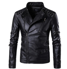 New Motorcycle Jacket PU Leather Men Vintage Retro Biker Punk Coat Zippers Rope Lace Design Faux Size M-5XL
