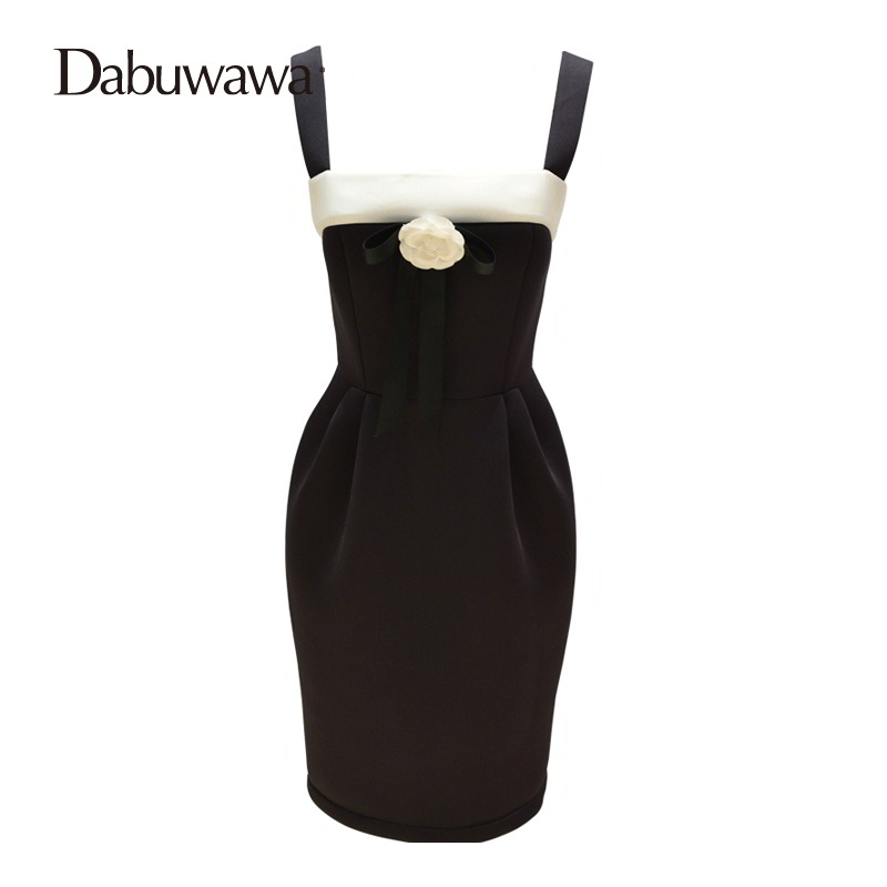 Dabuwawa Sleeveless Patchwork Pencil Dresses For Women Dresses Evening Party Gown Vintage Dresses Night Out Club #D16DRS056