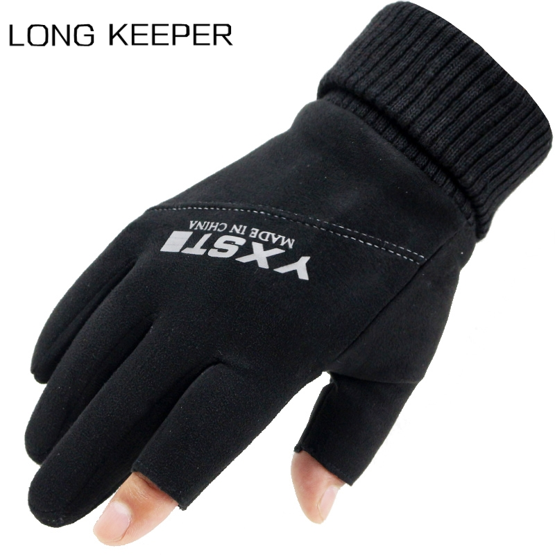 Long Keeper Winter Men Full Finger Suede Gloves Two Fingers Cut Outdoor Sports Fishing Fitness Guantes Warm Windproof Mittens