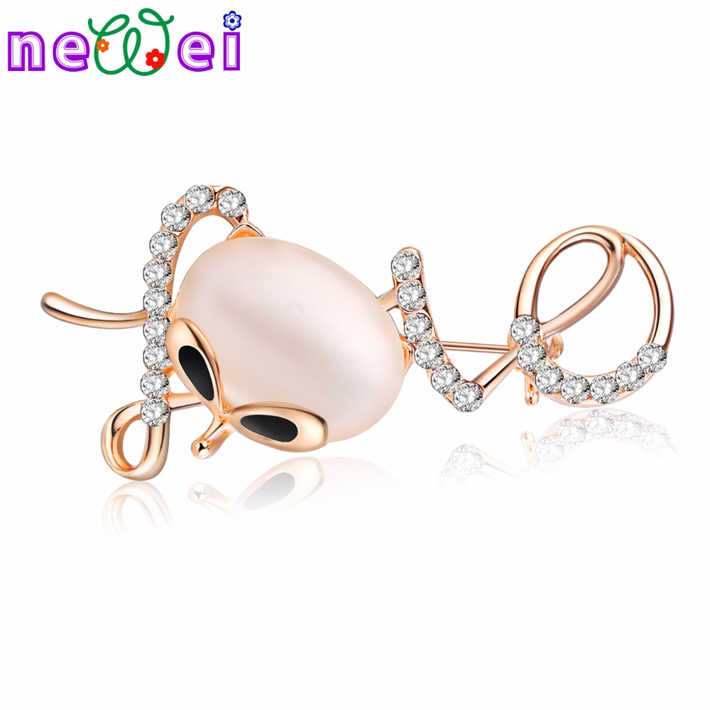 NEWEI Opal Rhinestone Love Cat Kitten Brooch For Women Brooches Pin Collar Suit Scarf Decoration New Fashion Animal Jewelry