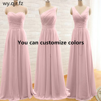 QNZL95F#Custom colors long Evening Dresses pink green Chiffon wedding party dress party gown wholesale women's cheap clothing