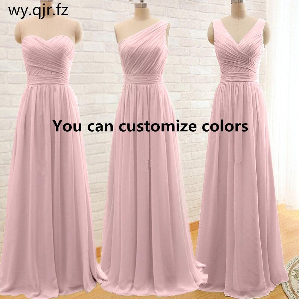 QNZL95F # Personnalisé couleurs longue Demoiselle D'honneur Robes rose vert En Mousseline de Soie robe de soirée de mariage en gros robe de partie de femmes pas cher vêtements