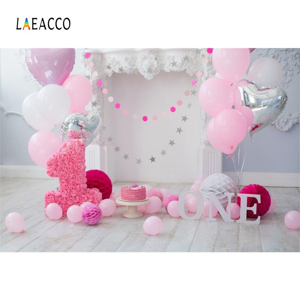 Laeacco Baby 1 Ad günü Balonları Tort Şömini Taxta Lövhələr - Kamera və foto - Fotoqrafiya 1