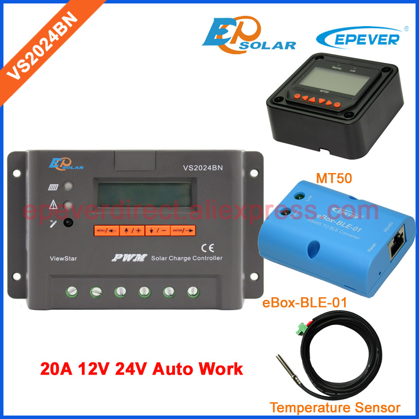 EPEVER PWM EPsolar 20A VS2024BN with bluetooth function BOX Solar charger controller Temperature sensor and MT50 Meter epever pwm epsolar 20a vs2024bn with bluetooth function box solar charger controller temperature sensor and mt50 meter
