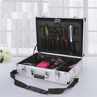 large heavy duty Aluminum Tool Case household storage bins Tool Panel with cutting Foam and Dividers Accessories Organizer