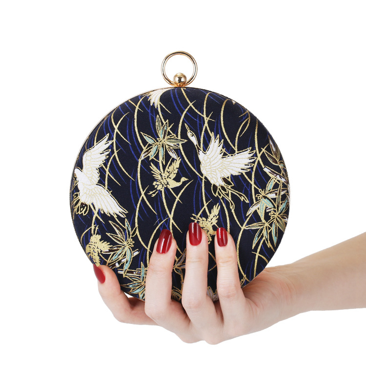 Chain Clutch Embroidery Purse Banquet-Bags Ladies PURFAY for Flannelette Round-Shaped