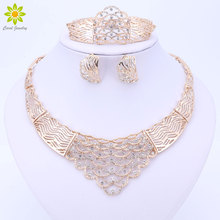 Wedding Gold Color Necklace Set Jewelry Sets Party Women African Beads Bridal Ring Bracelet Earring Necklace Accessories