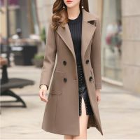 Long Slim Blend Outerwear 2019 Women Overcoat Wool Coat Autumn Winter Jacket Clothes